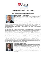 Tenth Annual Dinner Press Packet - Asia Society