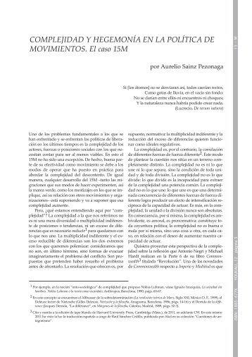 Complejidad y hegemonía en la política de movimientos - Youkali