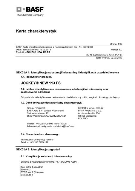 Jockey New 113 FS - BASF Polska