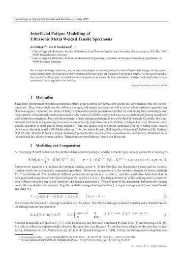 Interfacial Fatigue Modelling of Ultrasonic Metal Welded ... - ZARM