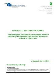 Poročilo o izvajanju programa Usposabljanje absolventov na ...