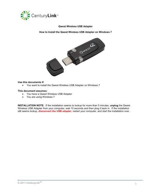 QWEST WIRELESS USB ADAPTER DRIVERS WINDOWS XP
