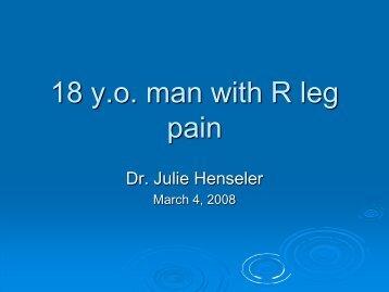 18 y.o. man with R leg pain