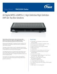 Data Sheet - Pace RNG200N Dallas High Definition Cable DVR