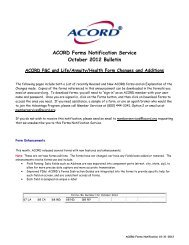 ACORD Forms Notification Service October 2012 Bulletin
