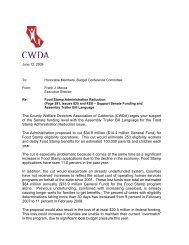 Food Stamp Administration Reduction - CWDA