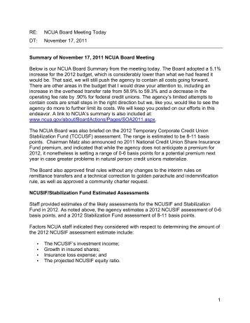 NCUA Board Meeting 11-17-2011