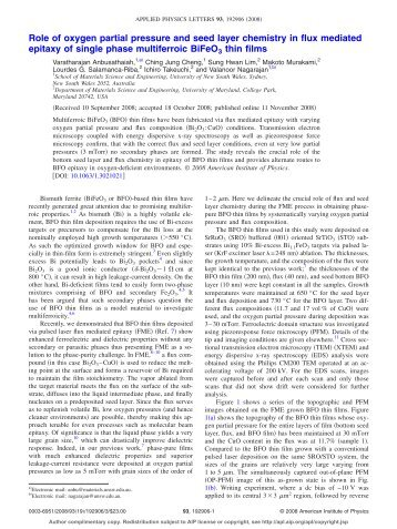 Role of oxygen partial pressure and seed layer chemistry in flux ...