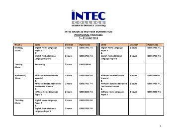 2010 august/september senior certificate examination timetable