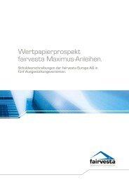 Anhang 2 – fairvesta Maximus Medium Fix - fairvesta Europe AG