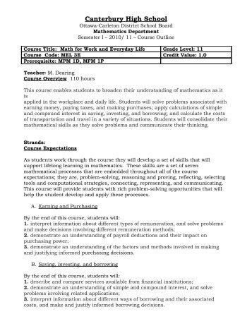 Grade 11 Math for Work and Everyday Life, MEL3E - Canterbury ...