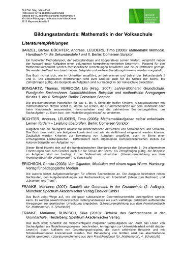 Bildungsstandards: Mathematik in der Volksschule - Kirchliche ...