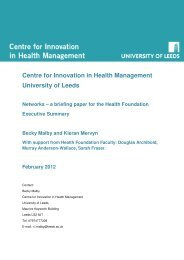 Brief literature Networks - Centre for Innovation in Health Management