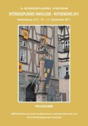 interdisziplinäre onkologie – rothenburg 2011 - Strahlenklinik ...