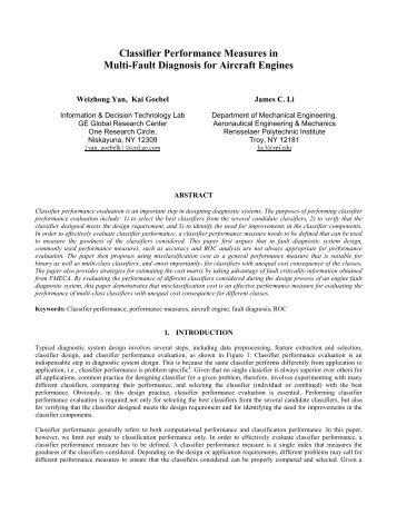 Classifier Performance Measures in Multi-Fault Diagnosis for Aircraft ...