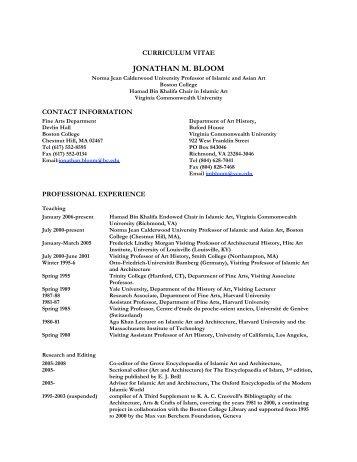 Jonathan Bloom's curriculum vitae - Boston College