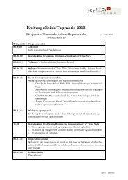 Kulturpolitisk topmøde 12. marts 2013, tentativt program