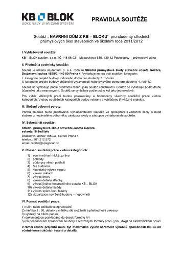 Pravidla soutěže - SPŠ Josefa Gočára - KB - BLOK systém, sro