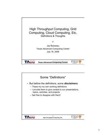 HTC, Grid Computing