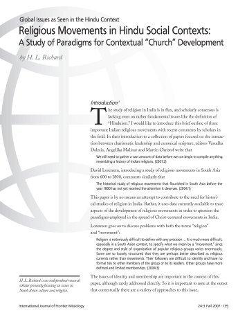 Religious Movements in Hindu Social Contexts: - International ...