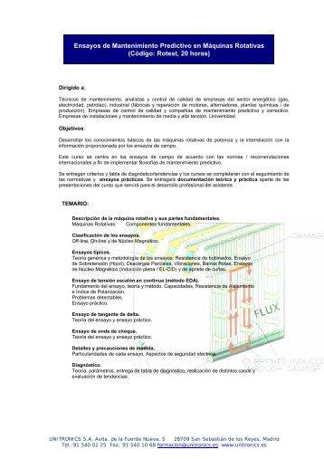 Ensayos de Mantenimiento Predictivo en ... - Unitronics Electric