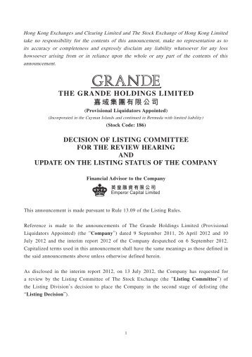 decision of listing committee for the review hearing and update on ...