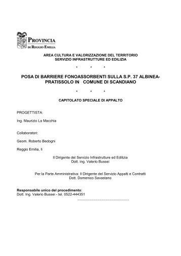 capitolato speciale d'appalto - Provincia di Reggio Emilia