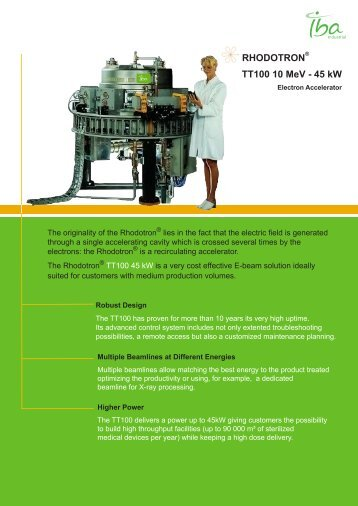 RHODOTRON® TT100 10 MeV - 45 kW - IBA Industrial