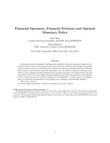 Financial Openness, Financial Frictions and Optimal Monetary Policy!