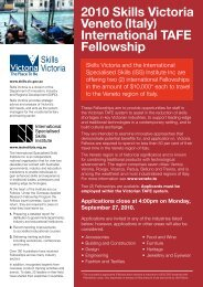 2010 Skills Victoria Veneto (Italy) International TAFE Fellowship