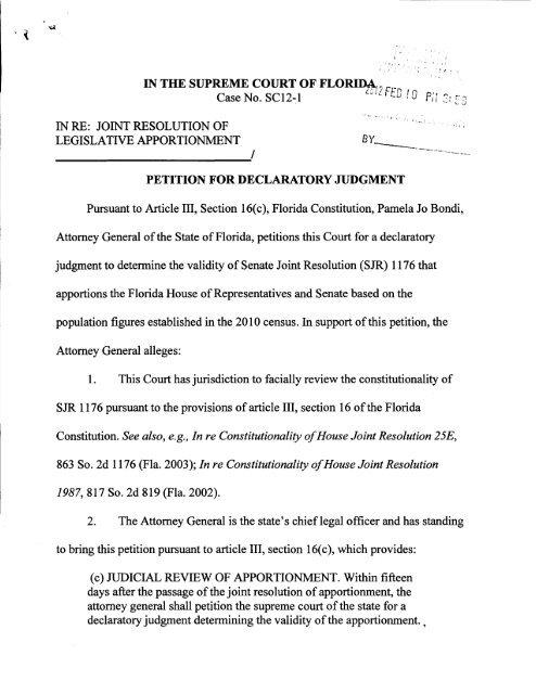SC12 1 Petition For Declaratory Judgment The Florida Senate