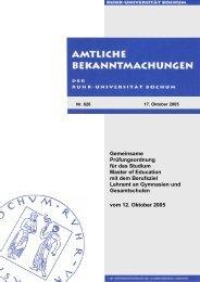 Gemeinsame Prüfungsordnung - Ruhr-Universität Bochum