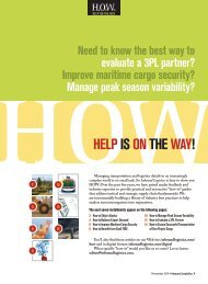Inbound Logistics | H.O.W - Help Is On The Way | 2011