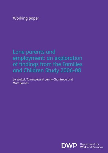 Lone parents and employment: an exploration of findings ... - Gov.uk