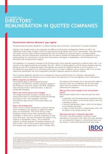 REMUNERATION IN QUOTED COMPANIES - UK.COM