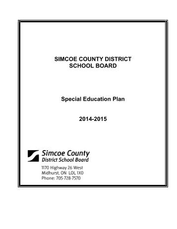 SCDSB Special Education Plan - Simcoe County District School Board