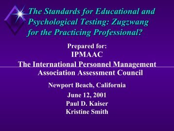The Standards for Educational and Psychological Testing ... - IPAC