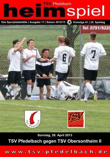 11. Heft gegen TSV Obersontheim II 28.04.2013 - TSV Pfedelbach