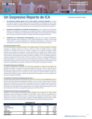 Un Sorpresivo Reporte de ICA - Monex