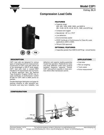 Model C2P1 Compression Load Cells - Digitrol