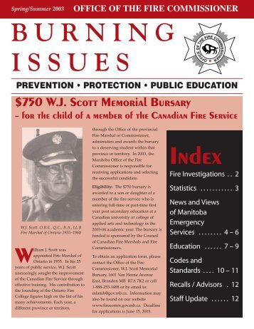 Spring 2003 Issue - Office of the Fire Commissioner