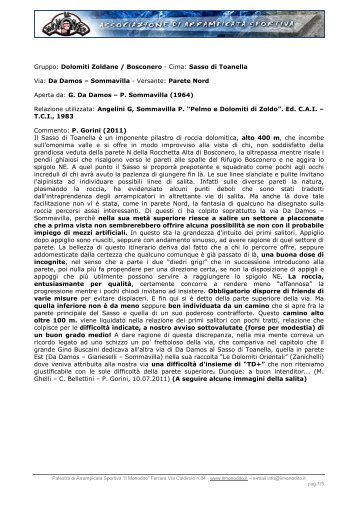 Gruppo: Dolomiti Zoldane / Bosconero - Cima: Sasso di ... - Il Monodito