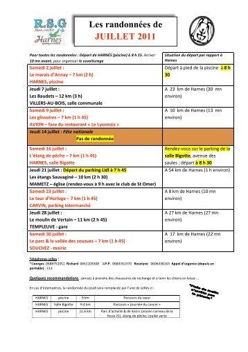 Les randonnées de JUILLET 2011 - Ville de Harnes