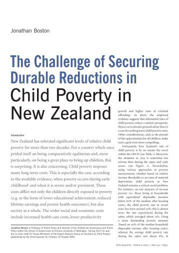 Child Poverty in New Zealand - Institute for Governance and Policy ...