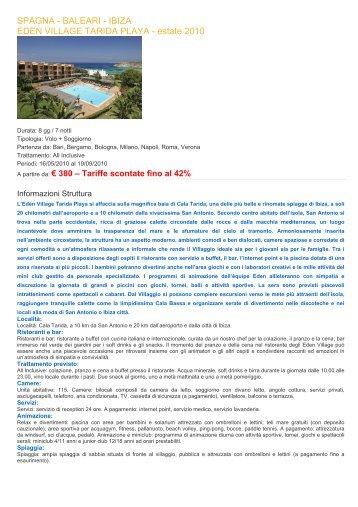 SPAGNA - BALEARI - IBIZA EDEN VILLAGE TARIDA ... - Ilportico.it