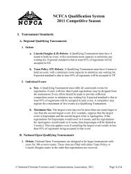 NCFCA Qualification System 2011 Competitive Season - National ...