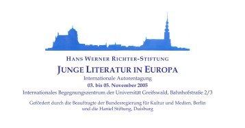 junge literatur in europa - Hans Werner Richter - Stiftung *Homepage