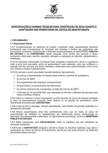 ESPECIFICAÇÕES E NORMAS TÉCNICAS PARA CONSTRUÇÃO ...