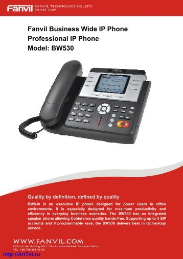 Fanvil Business Wide IP Phone Professional IP Phone Model: BW530