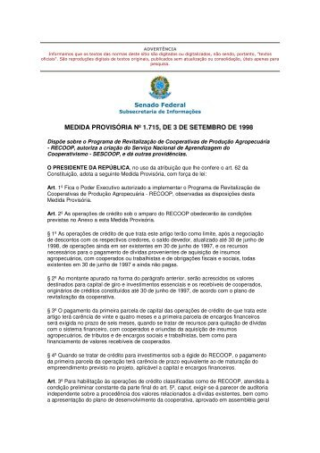 medida provisória nº 1.715, de 3 de setembro de 1998 - ocb/rj